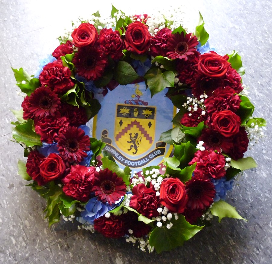 For flowers delivered in accrington area flowers by open all burnley badge wreath izmirmasajfo
